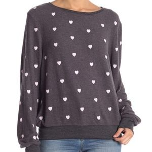 Wildfox Essential Hearts Graphic Pullover